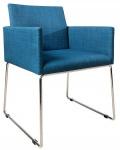 Casa Padrino Designer Stuhl mit Armlehnen Blau 55cm x 80cm x 60cm - Büromöbel