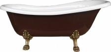 Freistehende Luxus Badewanne Jugendstil Roma Braun/Weiß/Altgold 1560mm von Casa Padrino - Barock Badezimmer - Retro Antik Badewanne