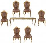 Casa Padrino Barock Esszimmer Set Leopard/Gold - Esstisch + 6 Stühle ohne Armlehnen