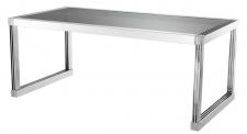 Casa Padrino Luxus Esstisch in silber mit Rauchglas 195 x 100 x H. 78 cm - Luxus Qualität