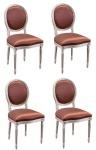 Casa Padrino Luxus Barock Esszimmer Set Creme / Gold / Orange 49 x 43, 5 x H. 98 cm - 4 Esszimmerstühle - Esszimmermöbel