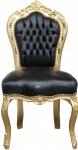Casa Padrino Barock Esszimmer Stuhl Schwarz/Gold Lederoptik - Möbel Antik Stil