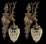 Casa Padrino Barock Wandleuchten Set Hirsch 1-Flammig Altgold Antik Stil - Wandlampe Wand Beleuchtung