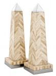 Casa Padrino Luxus Obelisk Set Büffelhorn / Messing vernickelt - Hotel Einrichtung - Luxus Dekoration
