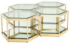 Casa Padrino Luxus Couchtisch / Wohnzimmertisch 4er Set Gold 60 x 52 x H. 36 cm - Wohnzimmermöbel
