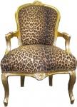 Barock Salon Stuhl Leopard / Gold