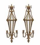 Casa Padrino Barock Wandleuchten Set Gold mit Spiegel - Wandlampe Wand Beleuchtung (2 Leuchten)