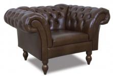 Casa Padrino Chesterfield Echtleder Sessel Dunkelbraun 130 x 90 x H. 80 cm - Wohnzimmermöbel im Chesterfield Design