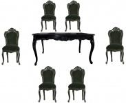 Casa Padrino Barock Esszimmer Set Schwarz/Schwarz - Esstisch + 6 Stühle ohne Armlehnen