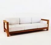 "Casa Padrino Garten 3-er Sofa Rustikal "" Boston"" Weiss-Creme/Braun 200 x 40 x H70 cm - Echtholz Möbel Massiv"
