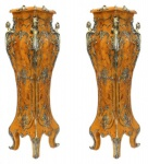 Casa Padrino Luxus Barock Säulen Set Vogelaugen Ahorn / Messing (2 Stk) H 160 cm x B 40 x L 40 cm