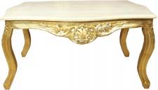 Casa Padrino Barock Couchtisch Gold mit Marmorplatte Creme - Möbel Wohnzimmer Tisch Antik Stil