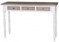 Casa Padrino Landhausstil Konsole Weiß / Naturfarben 120 x 35 x H. 79 cm - Luxus Qualität