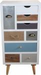 Designer Kommode mit 9 Schubladen im Landhausstil - Nachtkonsole - Nachtschrank - Beistelltisch
