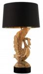 Casa Padrino Tischleuchte Schwan Naturfarben / Schwarz / Gold Ø 50 x H. 90 cm - Handgeschnitzte Tischlampe mit rundem Lampenschirm