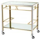 Casa Padrino Luxus Servierwagen Silber / Gold 80 x 48 x H. 76, 5 cm - Hotel Restaurant Gastronomie Accessoires