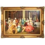Riesiges Handgemaltes Barock Öl Gemälde Unterhaltungsabend Gold Prunk Rahmen 225 x 165 x 10 cm - Massives Material