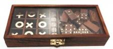 Casa Padrino 2er Holz Knobelspiel Dunkelbraun 23 x 10 x H. 3, 5 cm - Geduldspiel - Geschicklichkeitsspiel in Holzbox