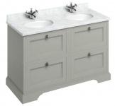 Casa Padrino Doppel Waschschrank / Waschtisch mit Marmorplatte und 4 Schubladen - Luxus Kollektion