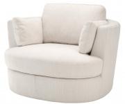 Casa Padrino Luxus Sessel / Drehsessel Weiß 110 x 100 x H. 70 cm - Wohnzimmermöbel