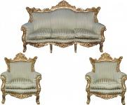 Casa Padrino Barock Wohnzimmer Set Master Jadegrün /Beige / Gold Mod2 - 3-er Sofa + 2 Sessel