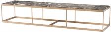 Casa Padrino Couchtisch Grau / Messing 190 x 45 x H. 35 cm - Luxus Edelstahl Wohnzimmertisch mit Marmorplatte