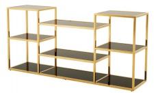 Casa Padrino Luxus Konsole gold mit schwarzem Glas 160 x 38 x H. 75 cm - Designer Kollektion