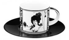 Handgearbeitete Kaffeetasse aus Porzellan mit einem Motiv von Audrey Beardsley Portrait 0, 21 Ltr. - feinste Qualität aus der Tettau Porzellanfabrik - wunderschöne Tasse