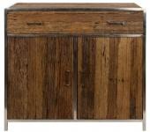 Casa Padrino Luxus Sideboard mit 2 Türen und 1 Schublade Braun / Silber 90 x 40 x H. 86 cm - Luxus Möbel