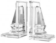 Casa Padrino Designer Kristallglas Buchstützen 2er Set - Luxus Qualität