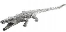 Casa Padrino Krokodil Deko Figur 41 x 14 cm - Skulptur Silber