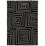 Casa Padrino Designer Teppich 160 x 230 cm Schwarz/ Weiß Design - Läufer
