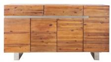 Casa Padrino Luxus Sideboard Braun B.170 x H.90 x T.45 - Fernsehschrank - Kommode - Handgefertigt aus massivem Akazienholz!