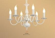 Casa Padrino Hängeleuchter Weiß 6- armig - Barock Restaurant - Hotel Lampe Leuchte - Hängeleuchte Art Deco