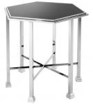 Casa Padrino Designer Beistelltisch silber mit schwarzer Glasplatte 71 x 62 x H. 65 cm - Luxus Qualität