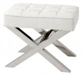 Casa Padrino Luxus Hocker in silber mit weißer Lederoptik 60 x 46 x H. 51, 5 cm - Designermöbel
