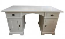 Casa Padrino Schreibtisch Kiefer Massiv Weiß - 151, 5 cm x 80 cm x H 78 cm - Antik Stil - Shabby Chic