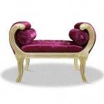 Casa Padrino Barock Schemel Creme Lila Silber 90 x 40 x H. 65 cm - Luxus Sitzbank