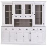 Casa Padrino Landhausstil Küchenschrank Weiß / Grau 244 x 45 x H. 225 cm - 2 Teiliger Küchenschrank mit 10 Türen und 10 Schubladen