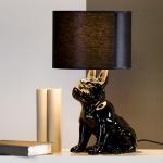 Designer Hockerleuchte für Hundeliebhaber aus Keramik Schwarz Höhe 45 cm - Leuchte Lampe