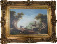 Handgemaltes Barock Öl Gemälde Gold Prunk Rahmen Landschaft 130 x 100 x 10 cm - Massives Material