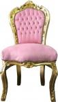 Barock Esszimmer Stuhl Rosa / Gold