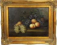 Handgemaltes Barock Öl Gemälde Obst Stilleben Mod2 Gold Prunk Rahmen 54 x 44 cm