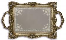 Casa Padrino Barock Serviertablett Antik Silber 33, 8 x 20 cm - Prunkvolles Tablett mit Spiegel