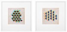 Casa Padrino Luxus Deko Bilder Set Geometrische Muster Mehrfarbig / Weiß 85 x H. 85 cm - Kunstdrucke mit Holzrahmen