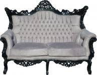 Casa Padrino Barock 2-er Sofa Master Grau / Schwarz - Antik Stil Wohnzimmer Möbel - Limited Edition