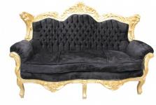 Casa Padrino Barock 2er Sofa Master Schwarz / Gold - Wohnzimmer Couch Möbel Lounge