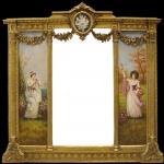 Casa Padrino Luxus Barock Wandspiegel Gold - B. 152, 5 cm x L. 146, 4 cm - Goldener Spiegel mit Blumen Ornamenten - Rechts und Links mit Barock Gemälden