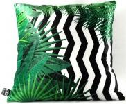 Casa Padrino Luxus Kissen Orlando Palm Leaves Schwarz / Weiß / Grün 45 x 45 cm - Feinster Samtstoff - Deko Wohnzimmer Kissen