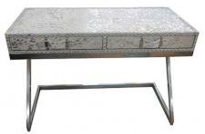 Casa Padrino Designer Schreibtisch mit 2 Schubladen Silber / Weiß 110 x 50 x H. 75 cm - Designermöbel